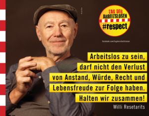 Bild mit Statement Willi Resetarits